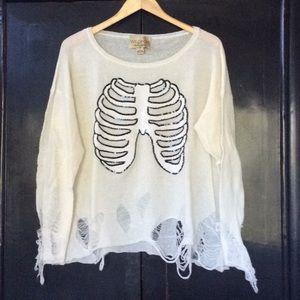 WILDFOX Sequin Skeleton Sweater S